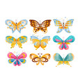 flat set of brightly colored butterflies vector image vector image