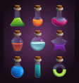 glass bottles with various liquids pictures in vector image vector image