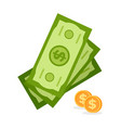 golden coinsgreen money bills isolated currency vector image vector image