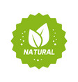 green natural food label with leaves logo vector image