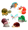 Group of cute isolated animals vector image vector image