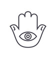 hamsa hand line icon sign on vector image