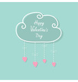 Happy Valentines Day Love card Cloud with hanging vector image vector image