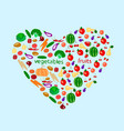 heart with fruits and vegetables vector image