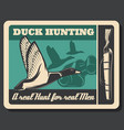 hunting poster with duck and shotgun vector image vector image