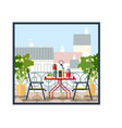 interior of balcony table and chairs potted vector image