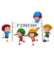 kids skating through the finish line vector image