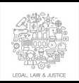 legal law and justice in circle - concept line vector image vector image