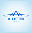letter a logo with swoosh in color shade vector image