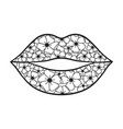 lips floral female icon print vector image