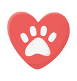 love heart paw animal adoption charity and vector image