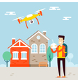 Man with copter city vector image vector image