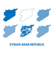 map of syrian arab republic - set of silhouettes vector image