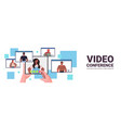 mix race people chatting during video call friends vector image vector image