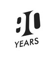 ninety years emblem template anniversary vector image vector image