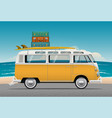 old school camper mini van with surf board vector image vector image