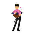 policeman character in a blue uniform standing and vector image vector image