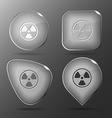 Radiation symbol Glass buttons vector image
