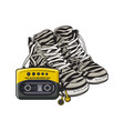 retro style attributes - zebra sneakers sport vector image