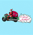 santa claus on a motorbike merry christmas vector image