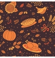 seamless pattern with pumpkins leaves wheat vector image vector image