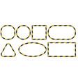 set 3d frames yellow and black stripes ribbon vector image vector image