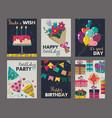 set beautiful colorful birthday invitation vector image