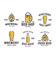 Set of linear brewery logos Labels with bottles vector image