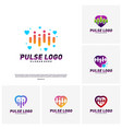 set of love heart pulse logo design concept vector image vector image