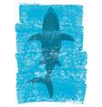 shark in ocean waves underwater blue background vector image vector image