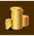 stacks golden coins on dark background vector image vector image