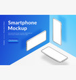 three white realistic isometric smartphones mockup vector image vector image