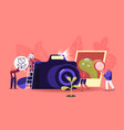 tiny photographers at huge photo camera shoot vector image