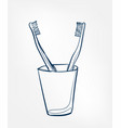 toothbrush line clip art isolated cosmetics vector image