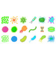 virus icon set cartoon style vector image vector image