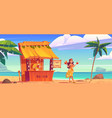 woman buying cocktail in tiki hut bar with barman vector image