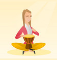 woman playing the ethnic drum vector image vector image