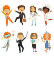 young kids boys and girls of different professions vector image