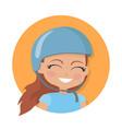 smiling girl in blue helmet simple cartoon style vector image
