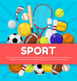 sport poster design of different equipment on vector image
