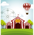 circus tents funfair entertainment design vector image