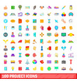 100 project icons set cartoon style vector image vector image