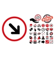 Arrow Right-Down Flat Icon with Bonus vector image vector image