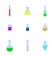 bottles with chemistry laboratory glassware vector image vector image