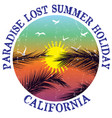 california summer t shirt graphic design vector image vector image