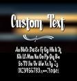 calligraphic script font alphabet on a dark vector image
