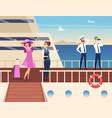 captain on sea ship sailor cruise team boat vector image vector image