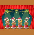 cartoon children in red santa costume singing chri vector image vector image