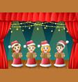 cartoon children in red santa costume singing chri vector image vector image