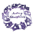 christmas wreath hand drawn llustration vector image vector image